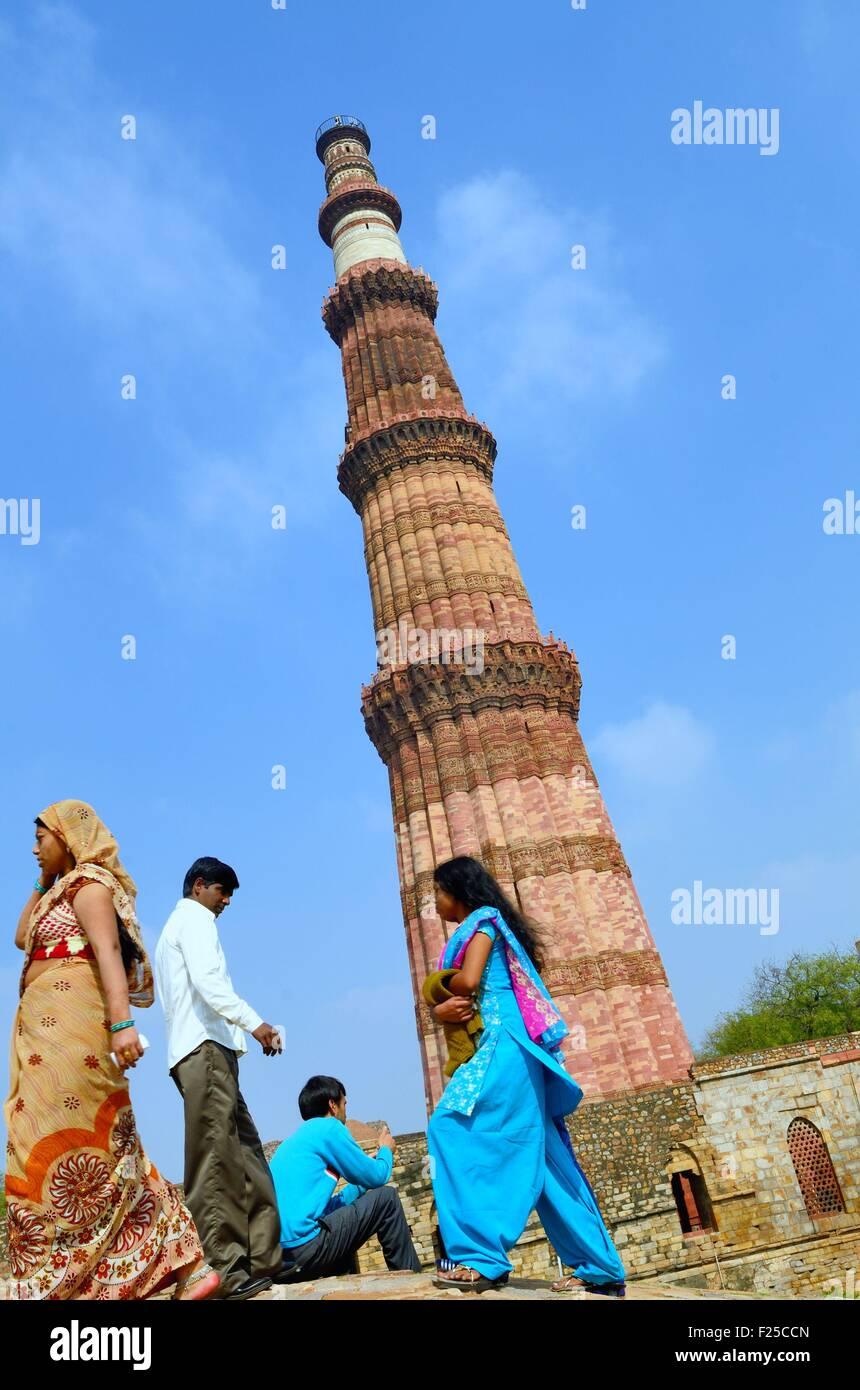 India, Delhi, Qutb Minar, a minar built in 1193 - Stock Image