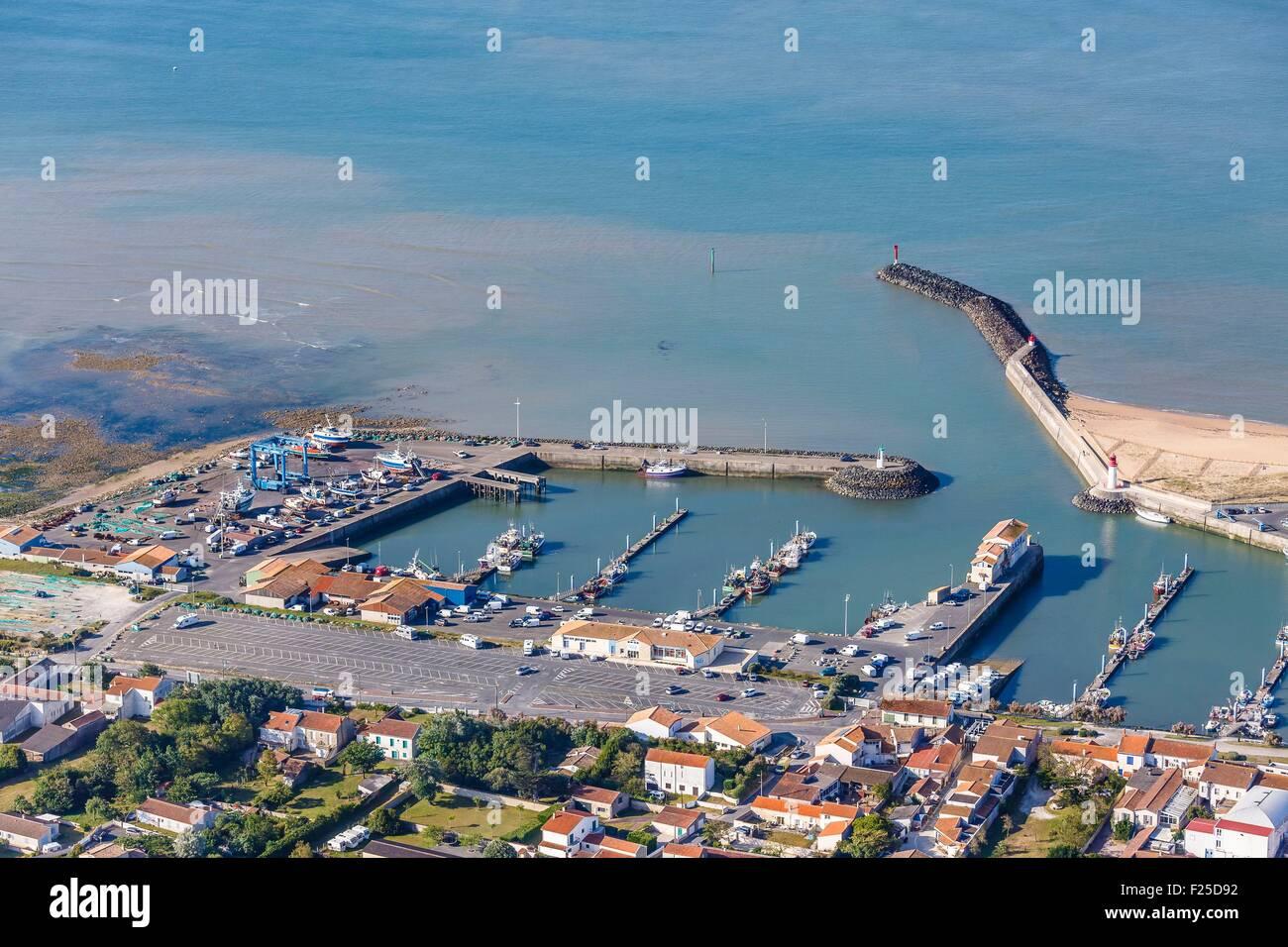 France, Charente Maritime, Saint Pierre d'Oleron, la Cotiniere fishing port (aerial view) - Stock Image