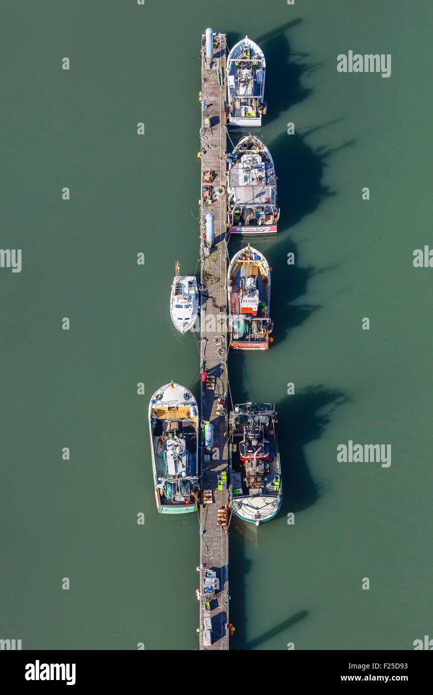 France, Charente Maritime, Saint Pierre d'Oleron, fishing boats in la Cotiniere port (aerial view) - Stock Image