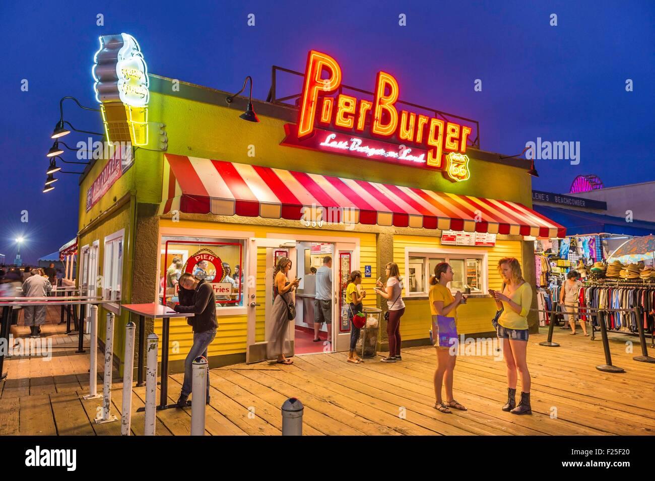 United States, California, Los Angeles, Santa Monica, Santa Monica Pier, Pier Burger restaurant - Stock Image