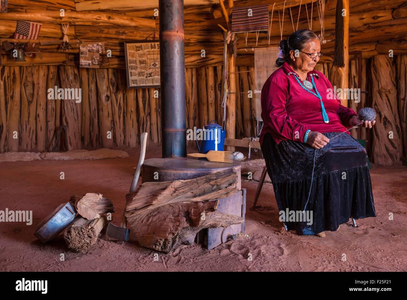 United States, Arizona, Navajo Nation, Monument Valley Tribal Park, hogan (traditional navajo house) - Stock Image
