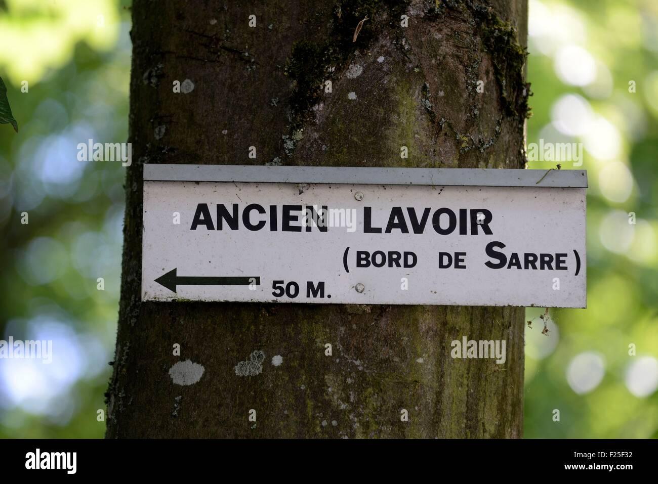 France, Moselle, Fenetrange, former laundrette edge of the Sarre river, panel - Stock Image