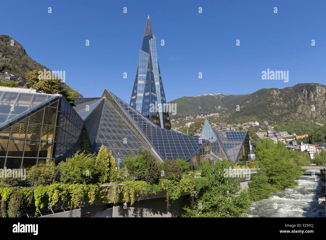 Andorra, Andorra La Vella, capital city of Andorra state, Escaldes Engordany, Caldea thermal spa and wellness resort - Stock Image
