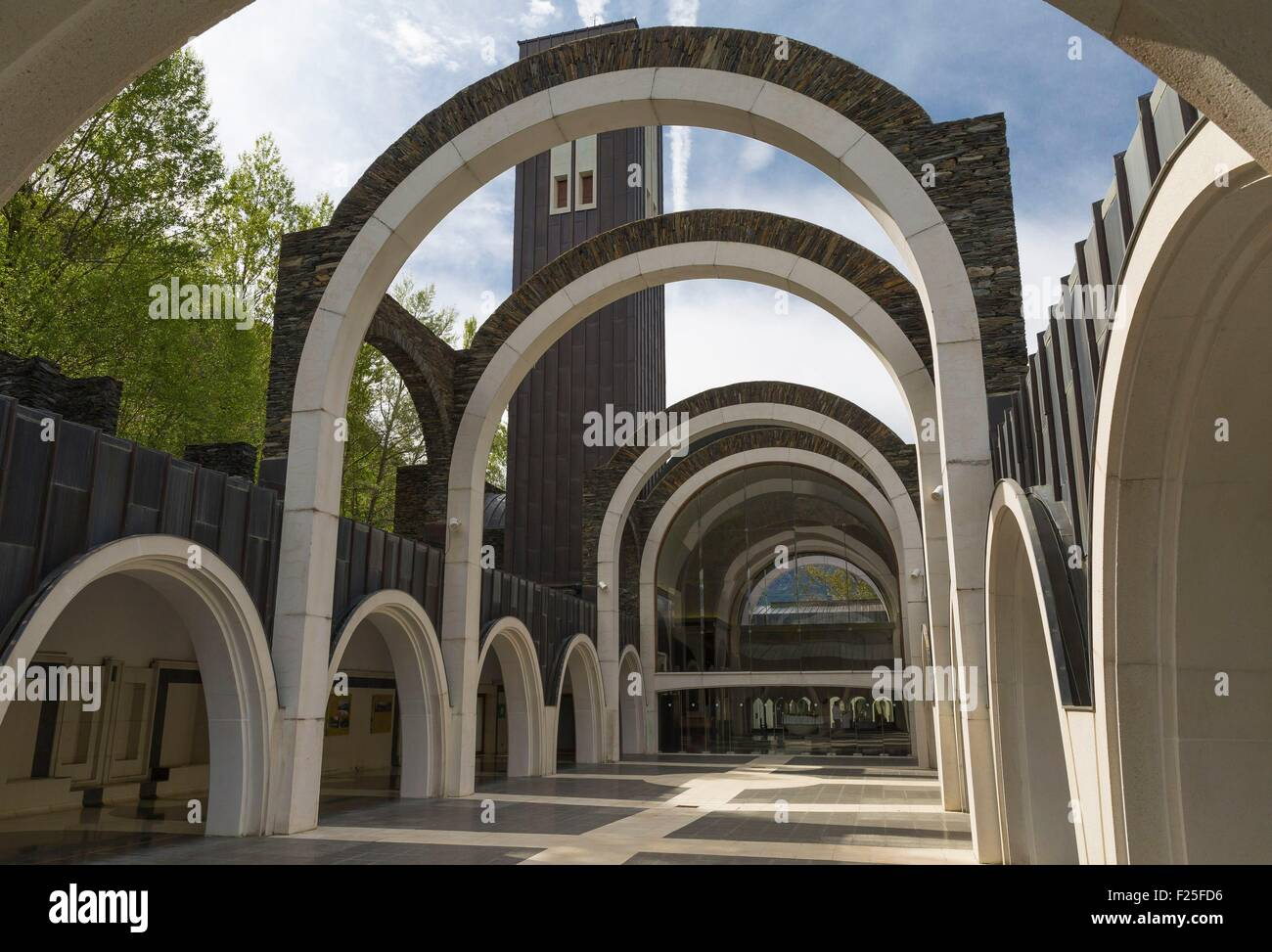 Andorra, Meritxell, the sanctuary of Our Lady of Meritxell, by Ricardo Bofill - Stock Image