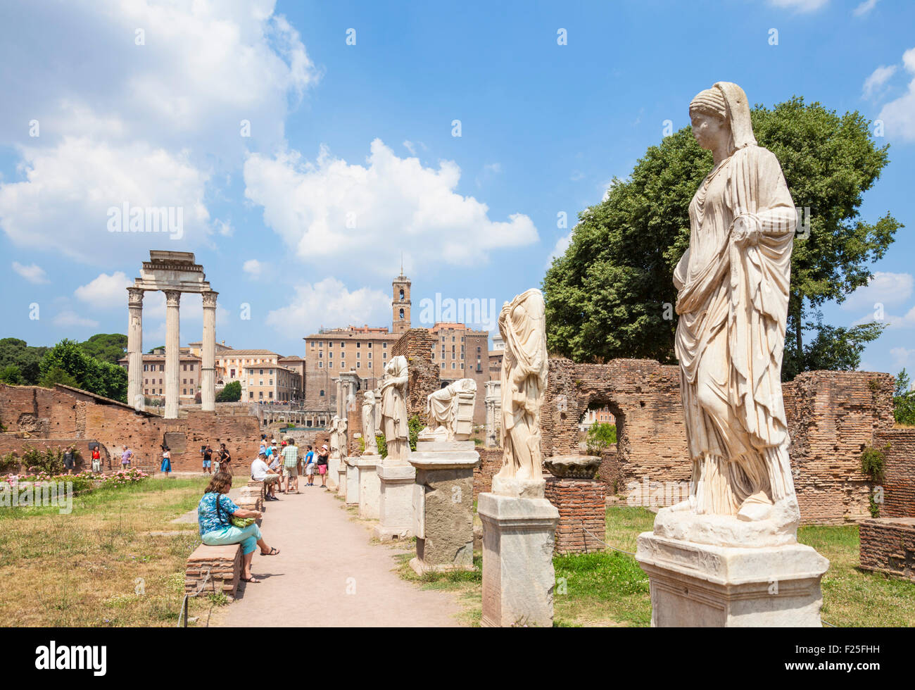The House of the Vestals or the residence of the Vestal Virgins in the Roman Forum  Rome Italy Roma Lazio Italy - Stock Image