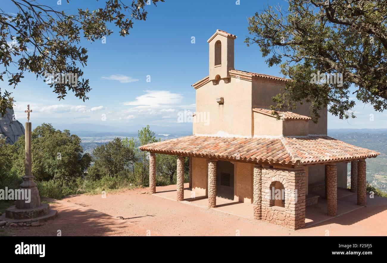 Spain, Catalonia, Barcelona province, Monistrol de Montserrat, Santa Maria de Montserrat Abbey, Sant Miquel hermitage - Stock Image