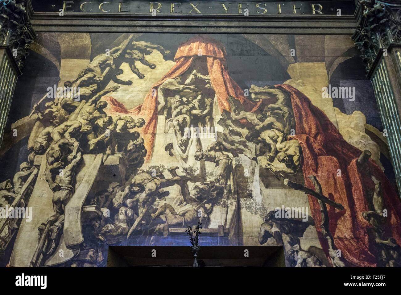 Spain, Catalonia, Barcelona Province, Vic, Sant Pere cathedral, paintings by Josep Maria Sert - Stock Image