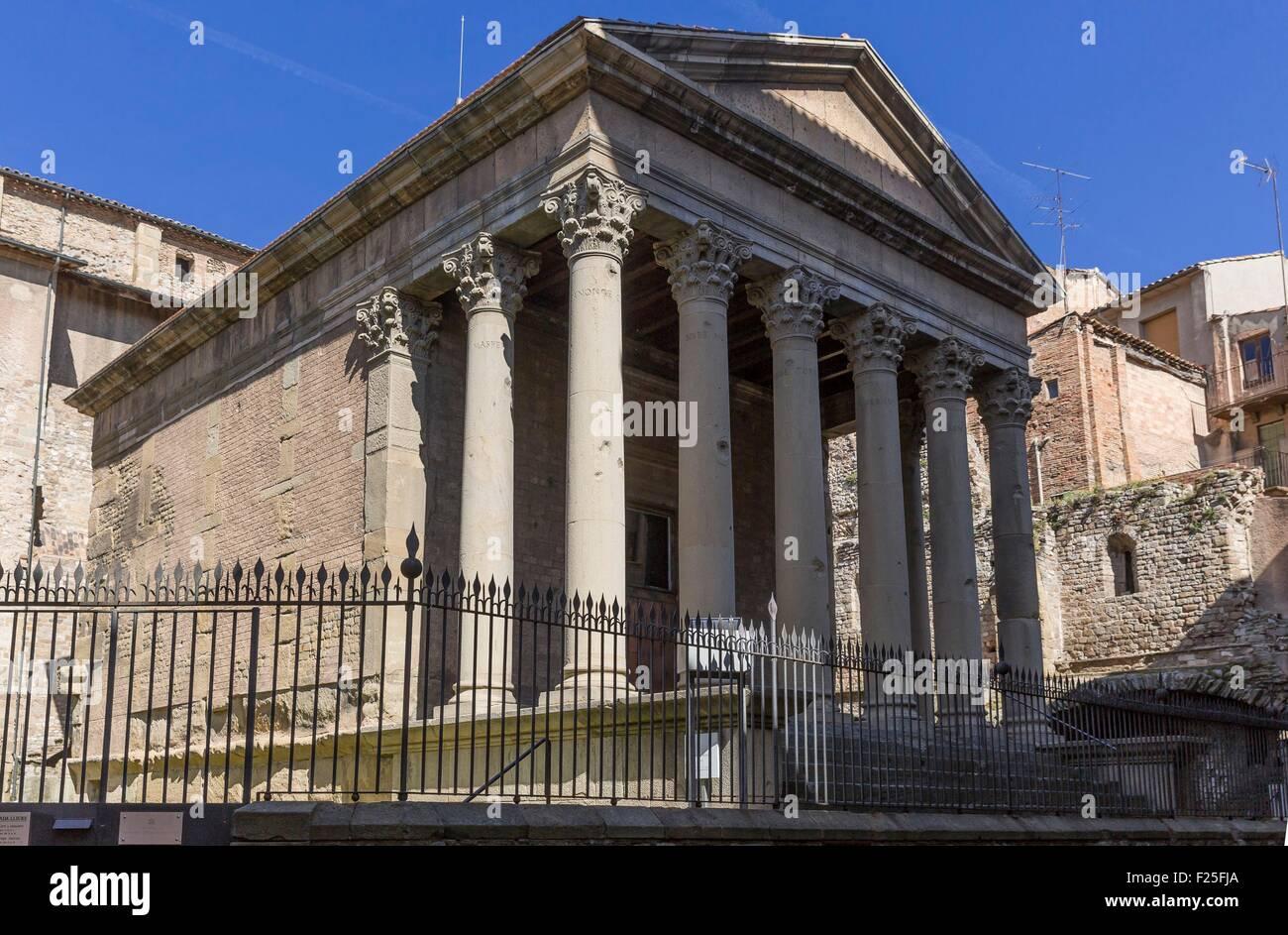Spain, Catalonia, Vic, roman temple - Stock Image