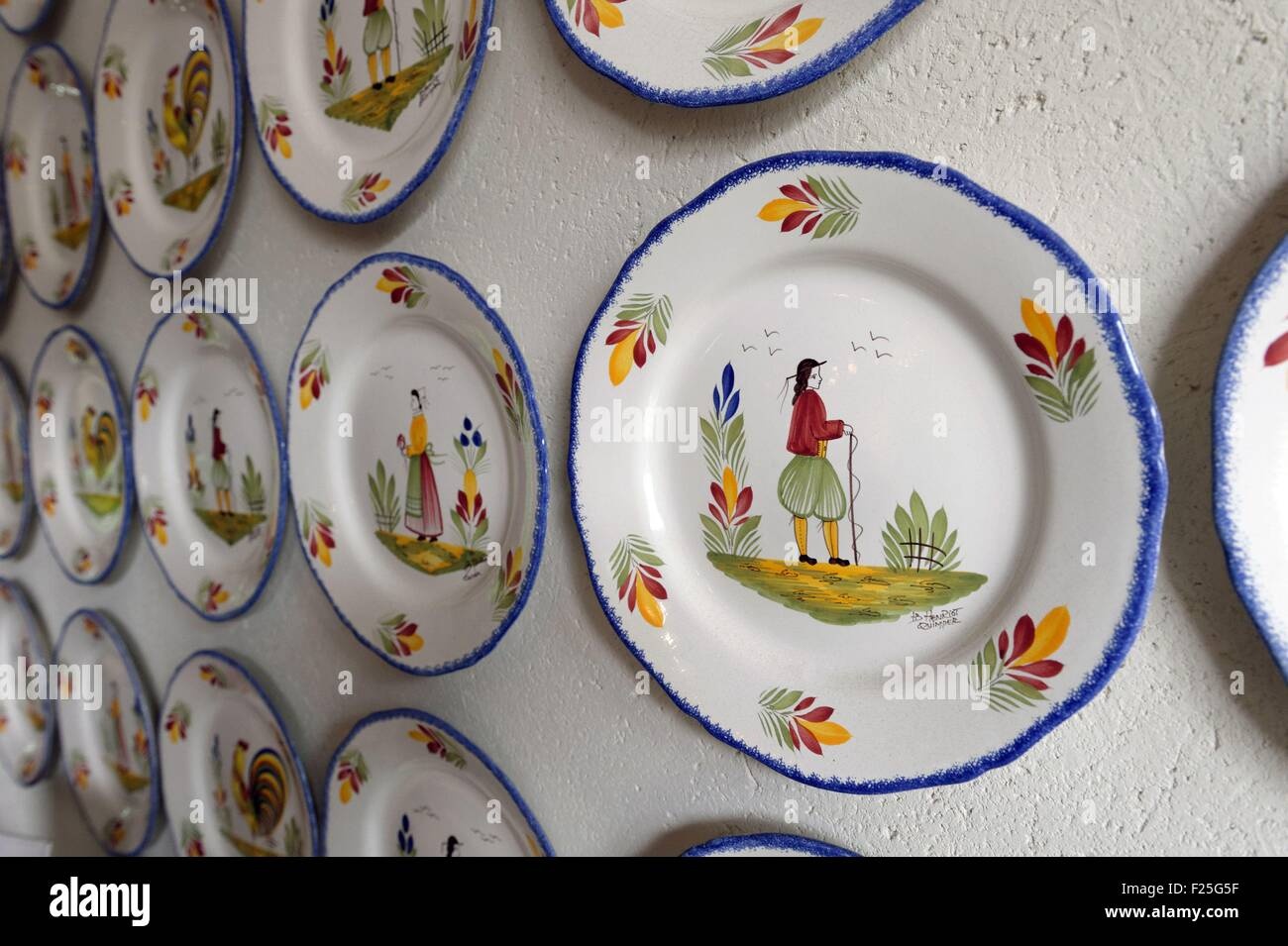 France, Finistere, Quimper, Earthenware of Quimper HB Henriot - Stock Image