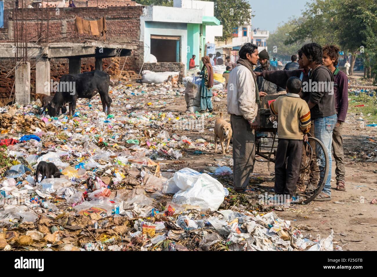 India, Uttar Pradesh state, Agra, street garbage - Stock Image