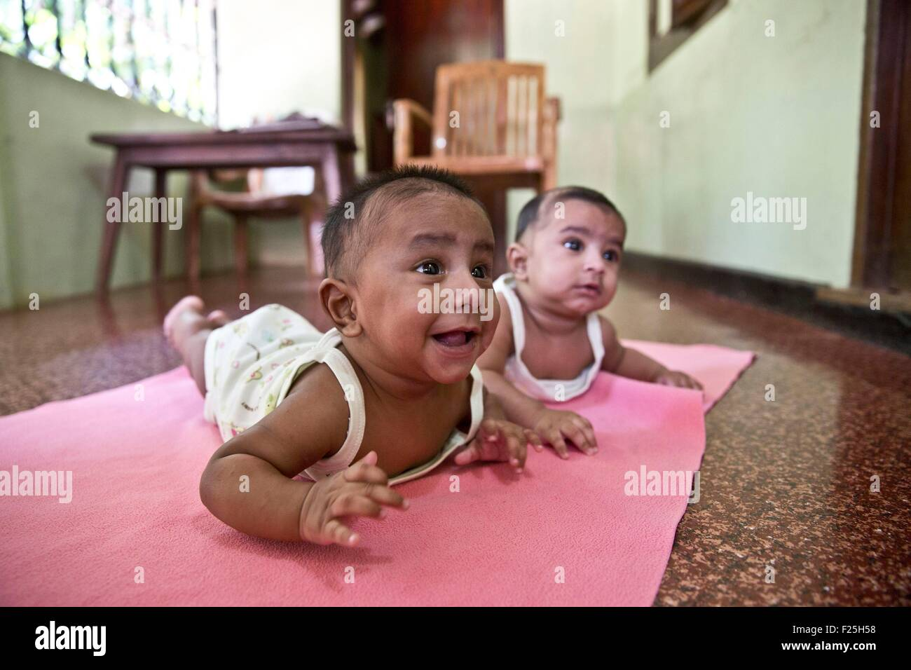 India kerala kodinhi twins town stock image