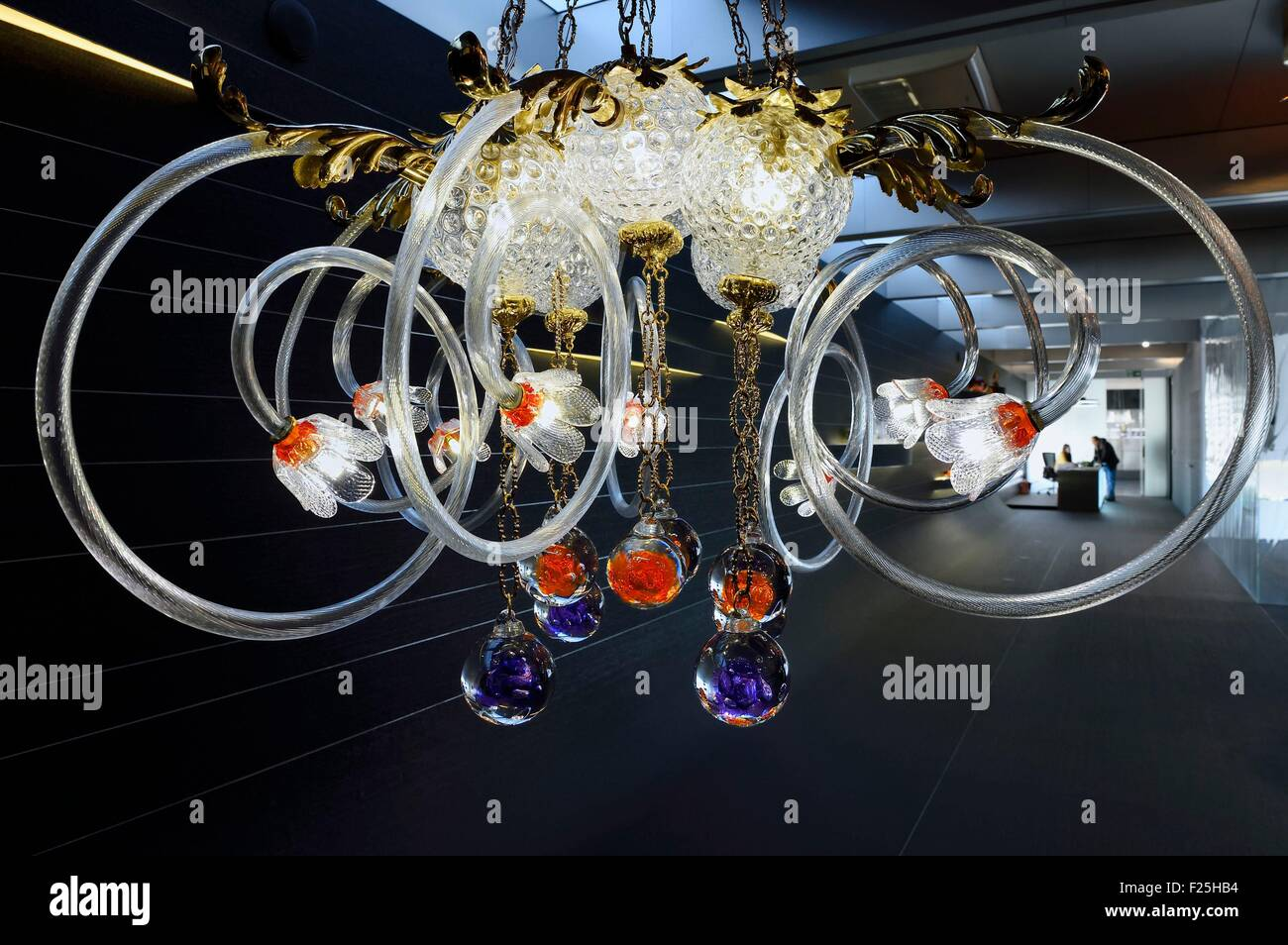 Czech Republic, Prague, Lasvit glassware show room, luster - Stock Image