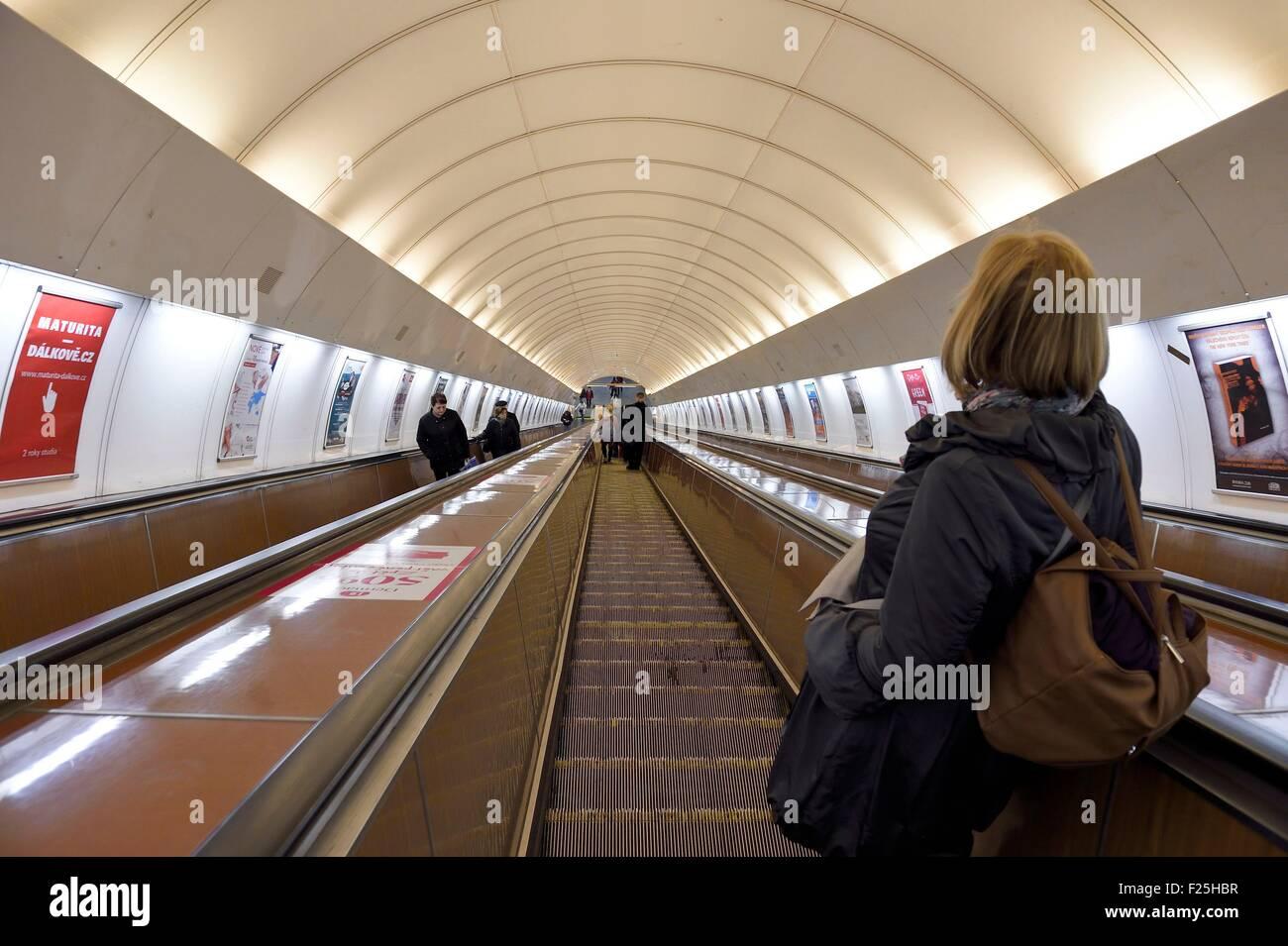 Czech Republic, Prague, escalator of the station Metro Nam Republiky - Stock Image