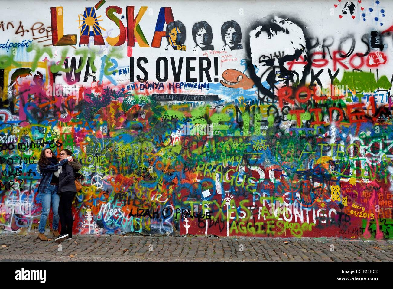 Czech Republic, Prague, historical center listed as World Heritage by UNESCO, Mala Strana district, mural in memory - Stock Image