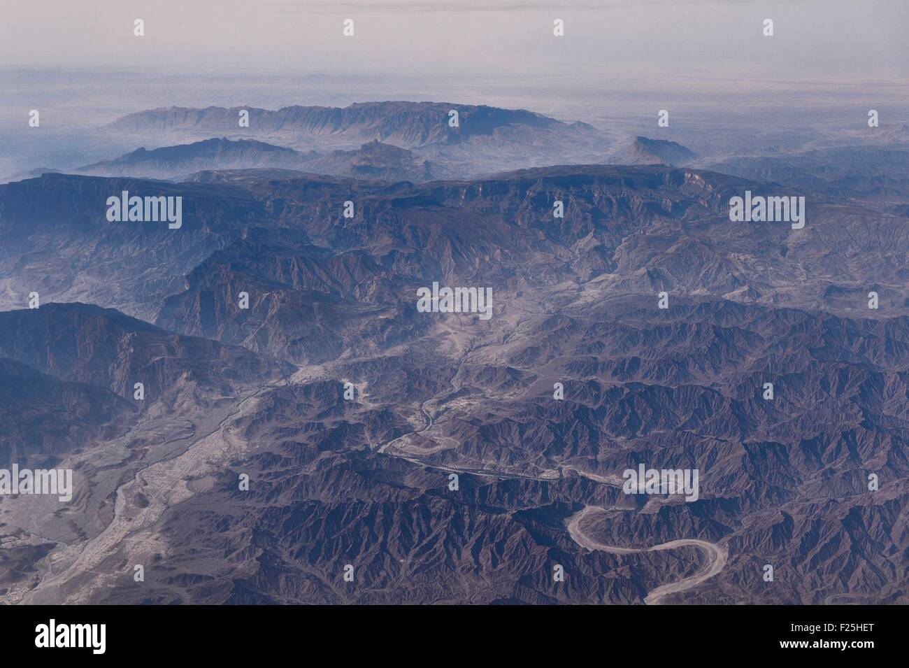 Sultanate of Oman, north Coast towards the Jebel Shams (aerial view) - Stock Image