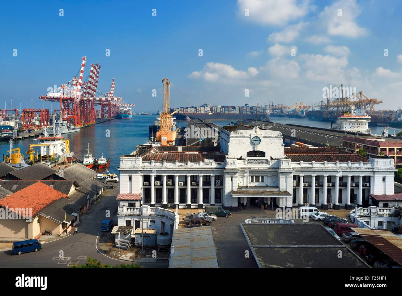 Sri Lanka, Western Province, Colombo District, Colombo, the commercial port, port authority building Stock Photo