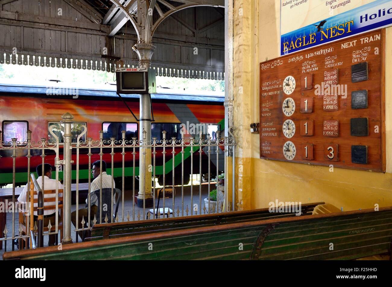 Sri Lanka, Uva Province, Badulla train station, schedules table display - Stock Image