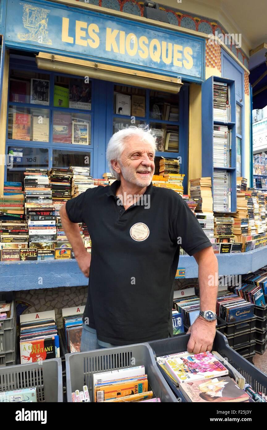 France, Var, Toulon, Les Kiosques, David, bookseller of the rue Prosper Ferrero - Stock Image