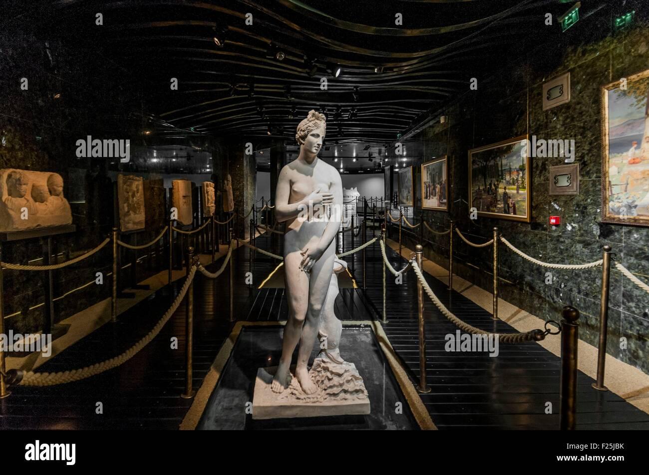 Macedonia, Skopje, new Archeologic Museum of Macedoinia, floor dedicated at the antiquity, Venus statue - Stock Image