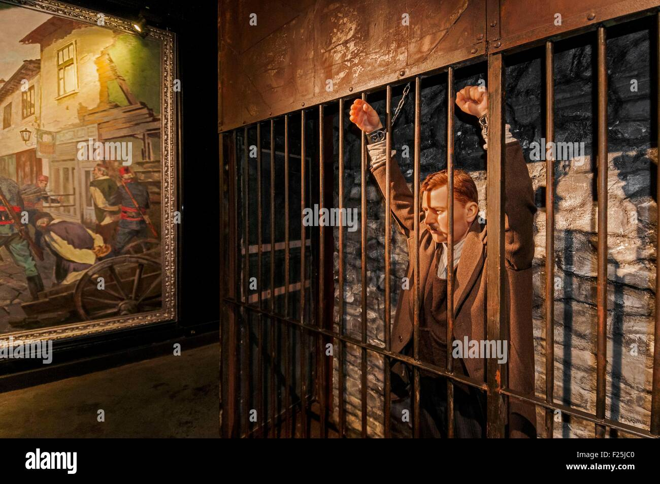 Macedonia, Skopje, new Museum of Macedonian Fight To Independence, reconstitution of a trial court by communist - Stock Image