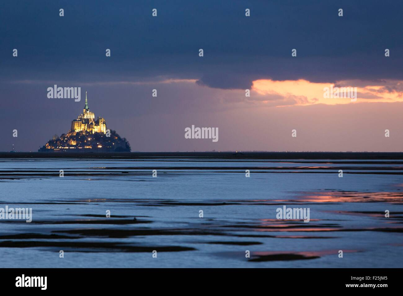 France, Manche, Mont Saint Michel listed as World Heritage by UNESCO, Mont Saint Michel from the littoral at sunset - Stock Image