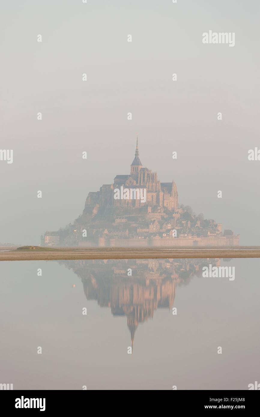 France, Manche, Mont Saint Michel listed as World Heritage by UNESCO, Mont Saint Michel during the high tide of - Stock Image