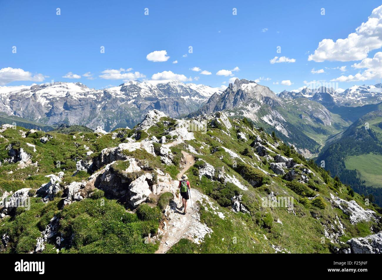 France, Savoie, Vanoise massif, Tarentaise valley, Courchevel, hiking on the Dent Du Villard (2284 m) and peak of - Stock Image