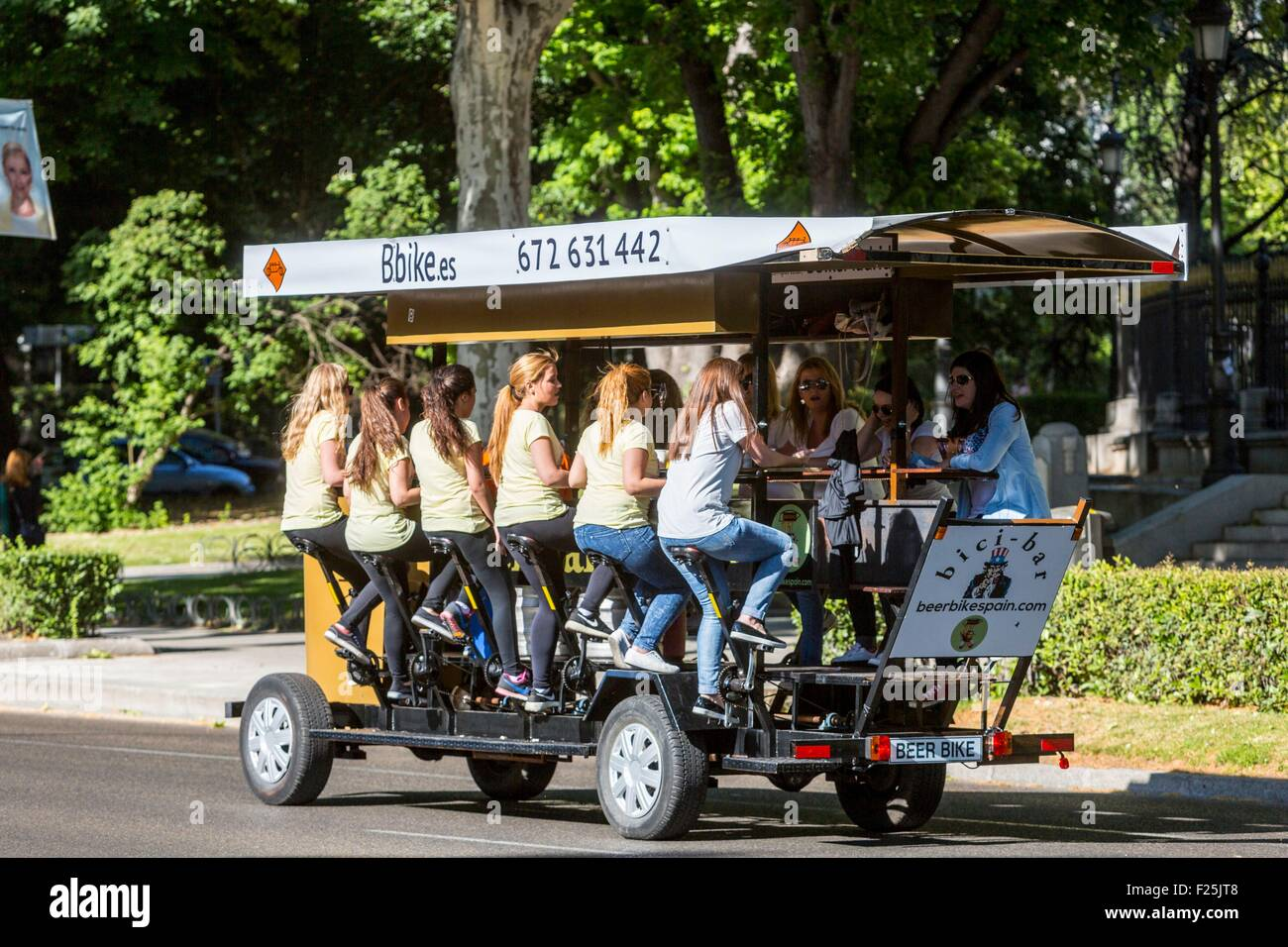 Spain, Madrid, bar caravan advancing by pedaling - Stock Image