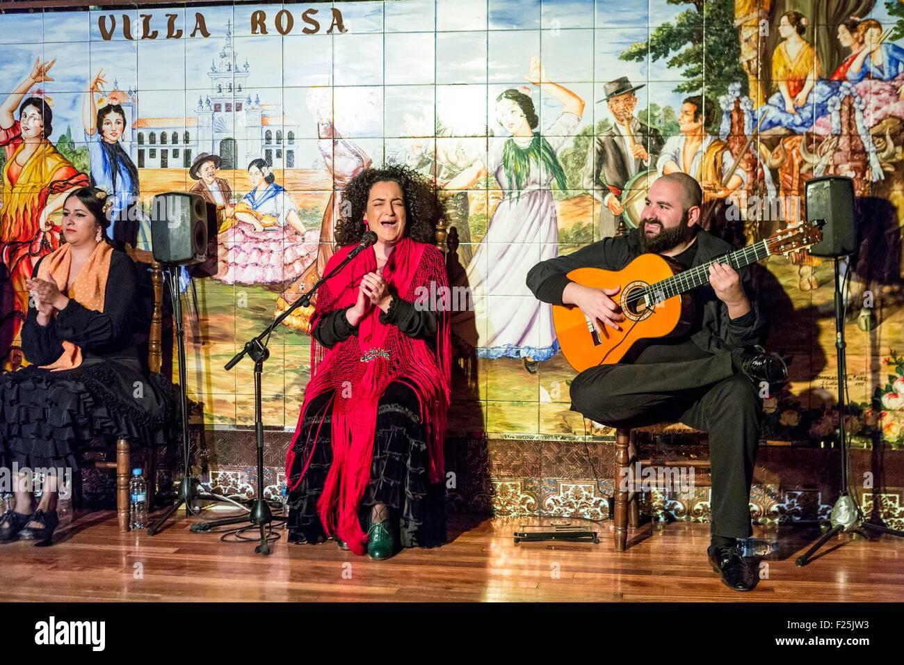 Spain, Madrid, district las Huertas, Flamenco show at the Villa Rosa - Stock Image