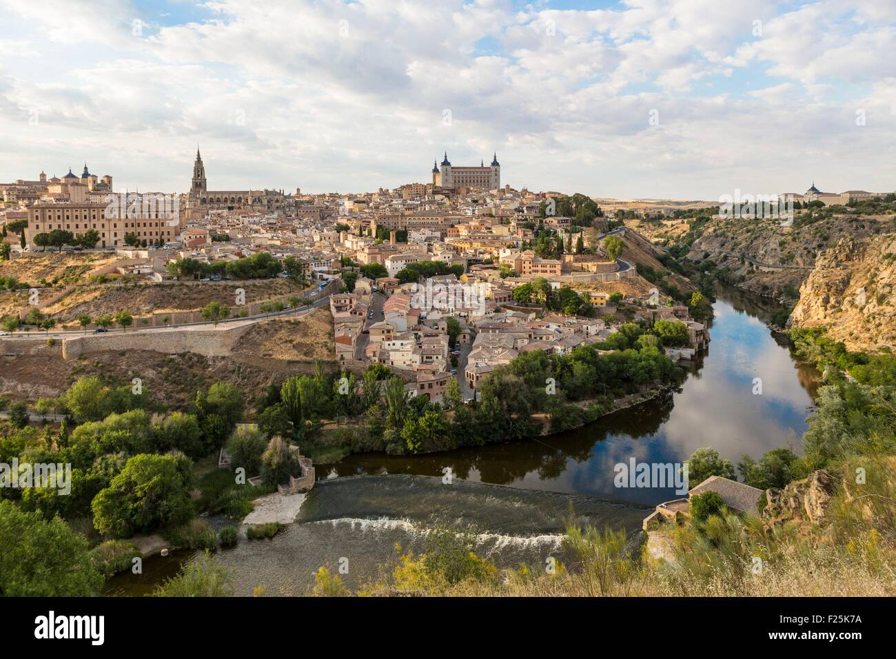 Spain, Castilla La Mancha, Toledo, historical city listed as World Heritage by UNESCO, surronded by the Alcazar - Stock Image