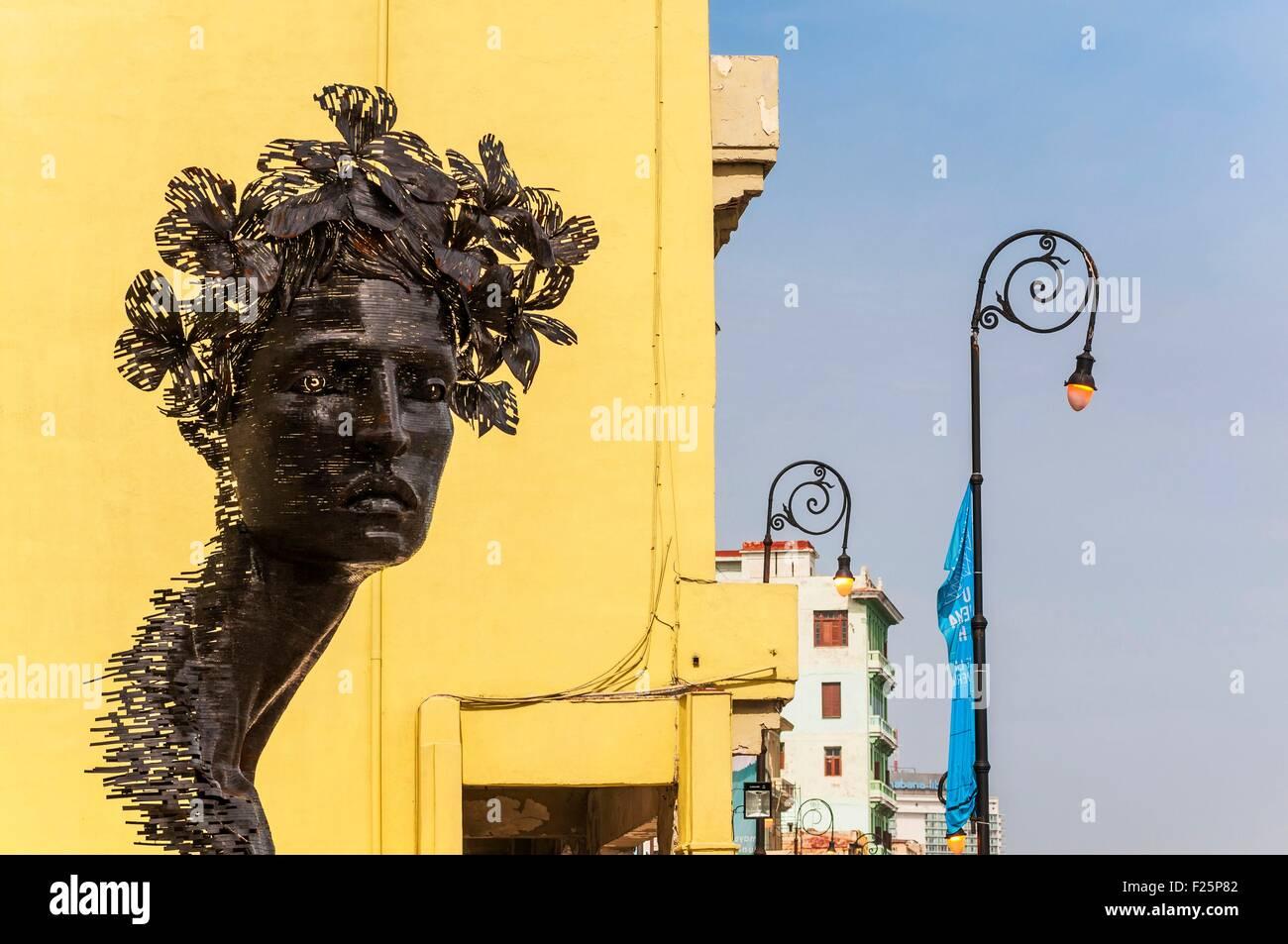 Cuba, Havana, Malecon, exhibited work at the Biennale - Stock Image