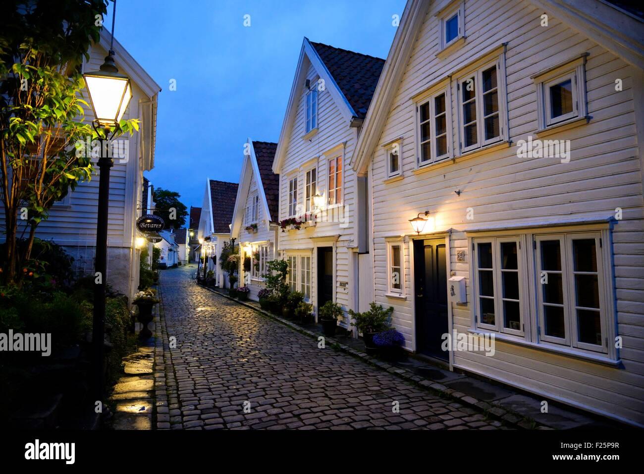 Norway, Rogaland, Stavanger, Gamle Stavanger (old town) Stock Photo