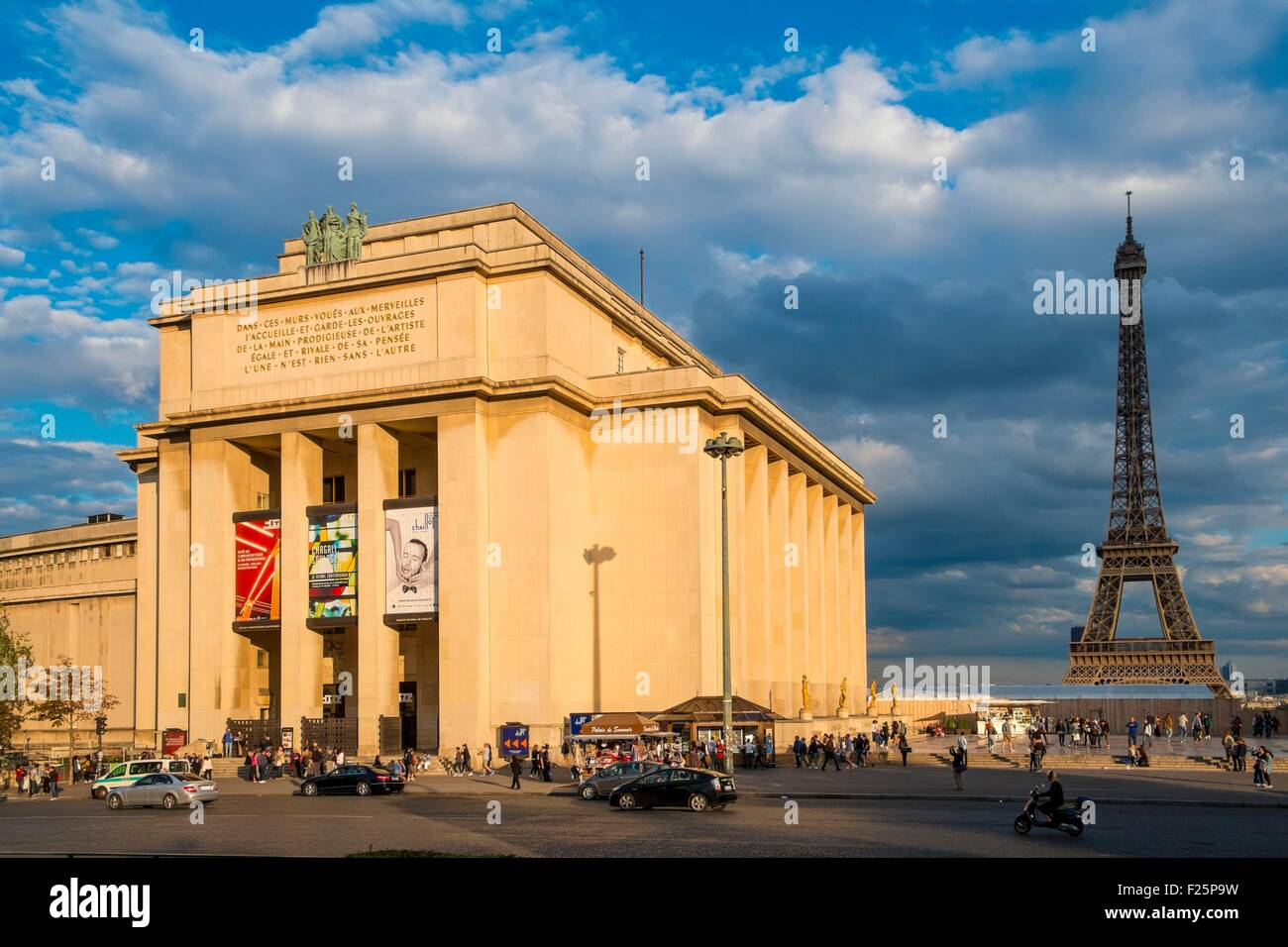 France, Paris, area listed as Wolrd Heritage by UNESCO, Palais de Chaillot, Paris Wing (East), including the City - Stock Image