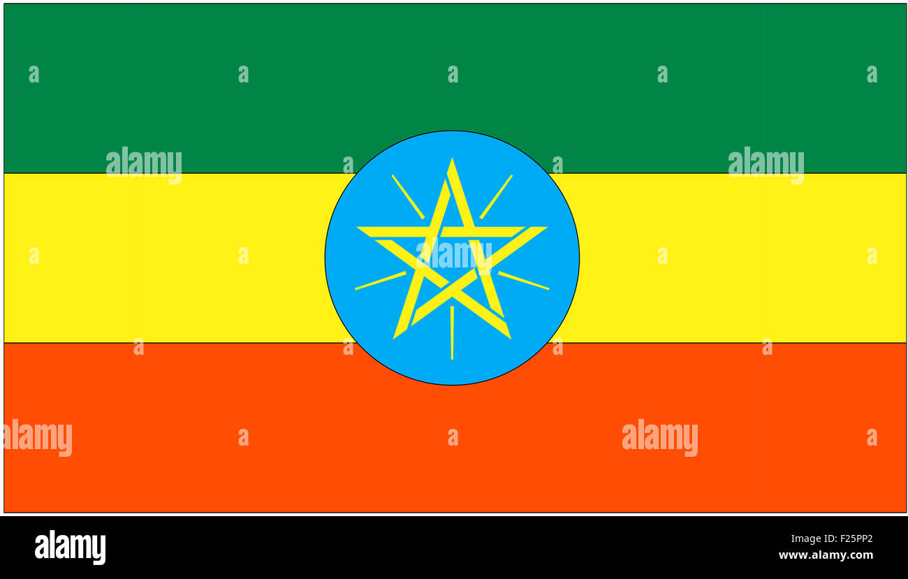 Fahne: Aethiopien/ flag: Ethiopia. - Stock Image