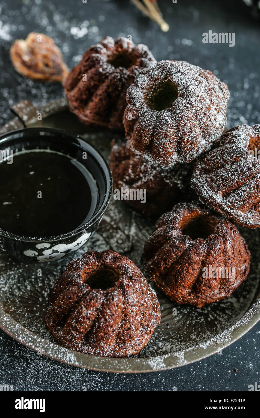 Mini bundt cakes. - Stock Image