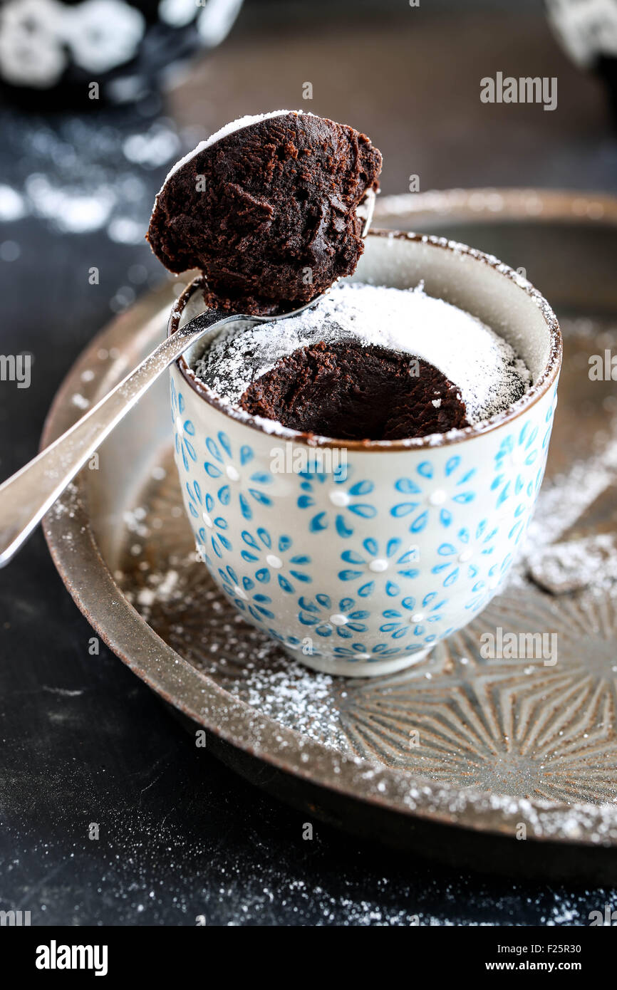 Chocolate mug cake. - Stock Image