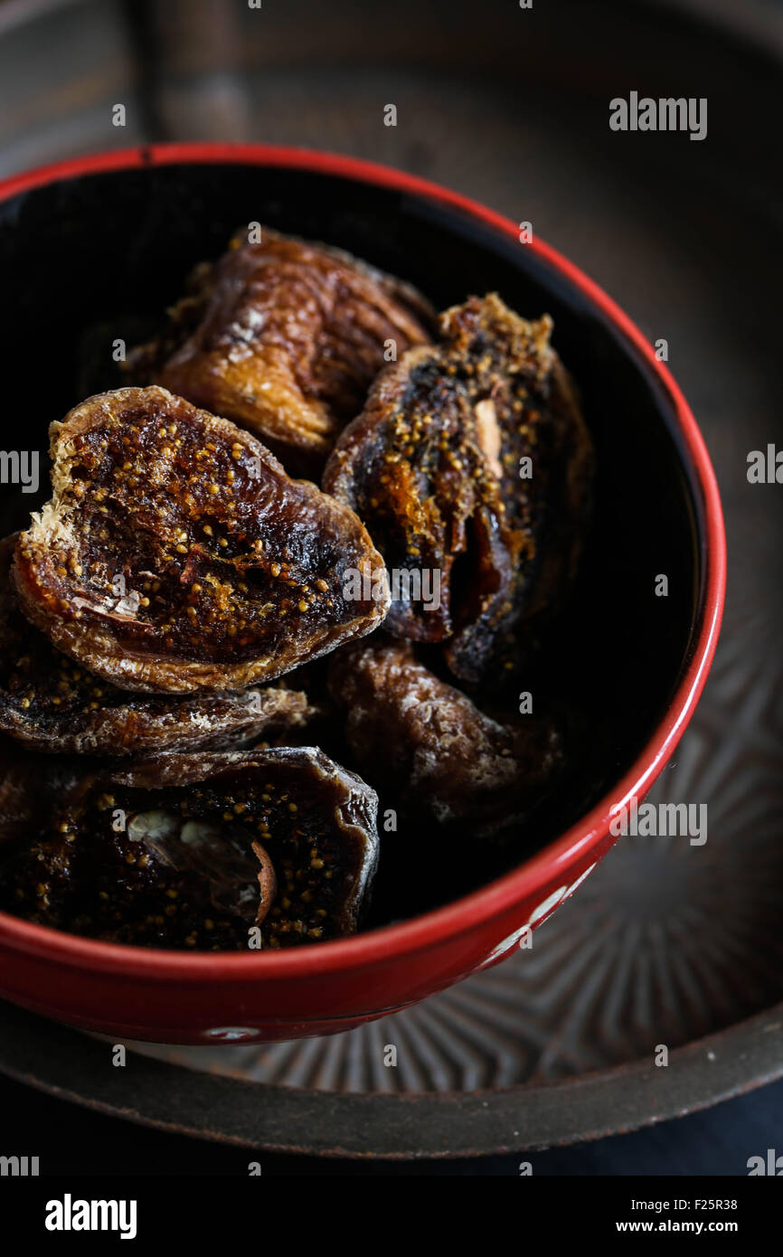Dried fig in a bowl. - Stock Image