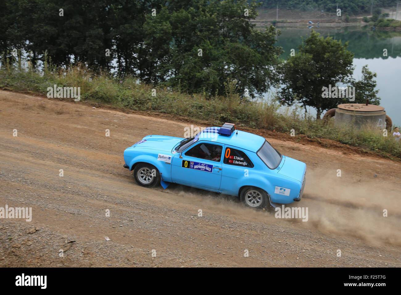 ISTANBUL, TURKEY - JULY 25, 2015: Ercan Tokcan drives safety car of Bosphorus Rally 2015, Deniz stage - Stock Image