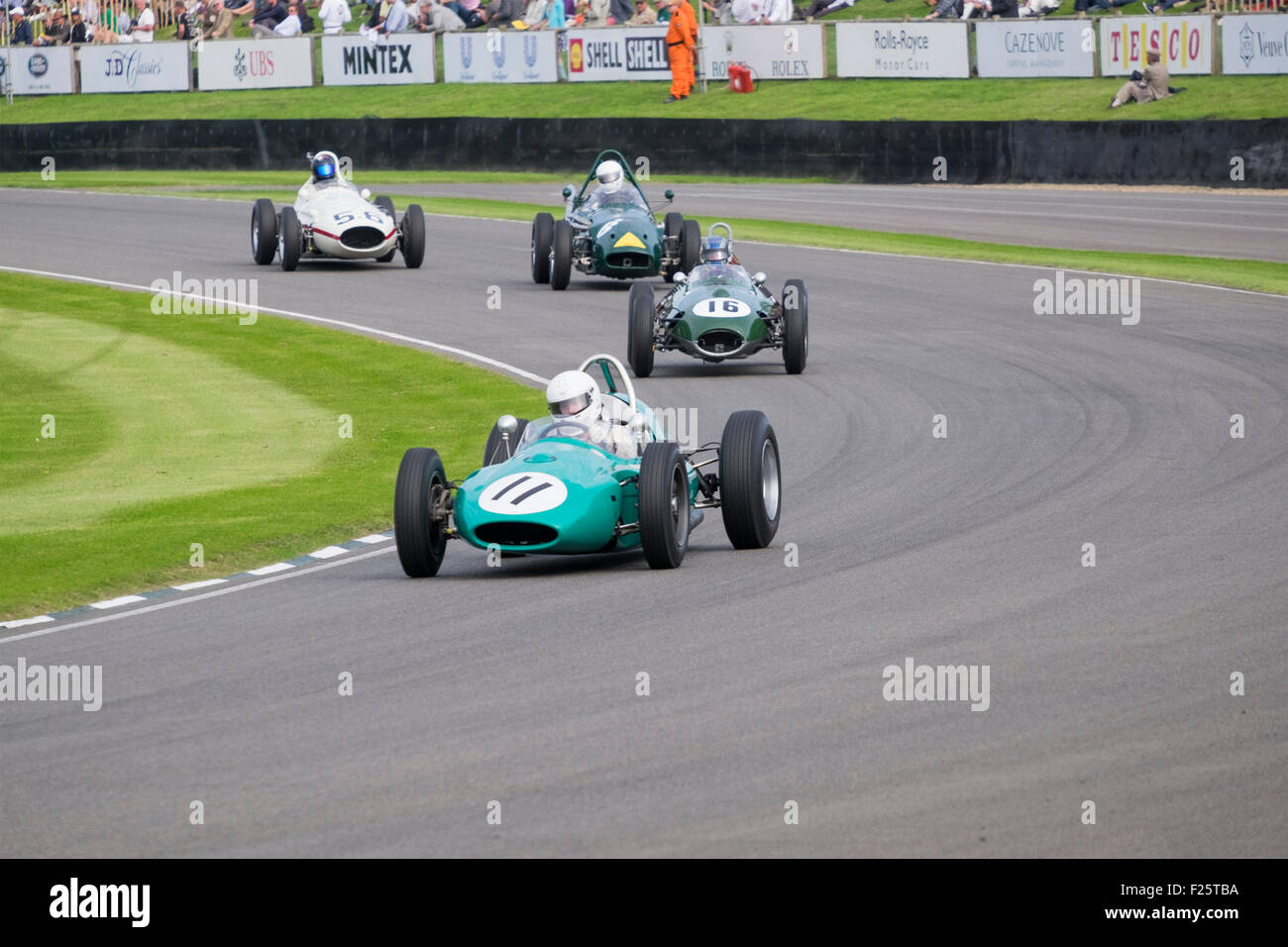 fast and furious motor sport racing action on the circuit at the 2015 goodwood revival meeting. Stock Photo