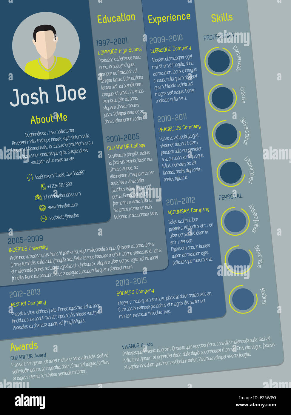 modern curriculum vitae cv resume template with steps