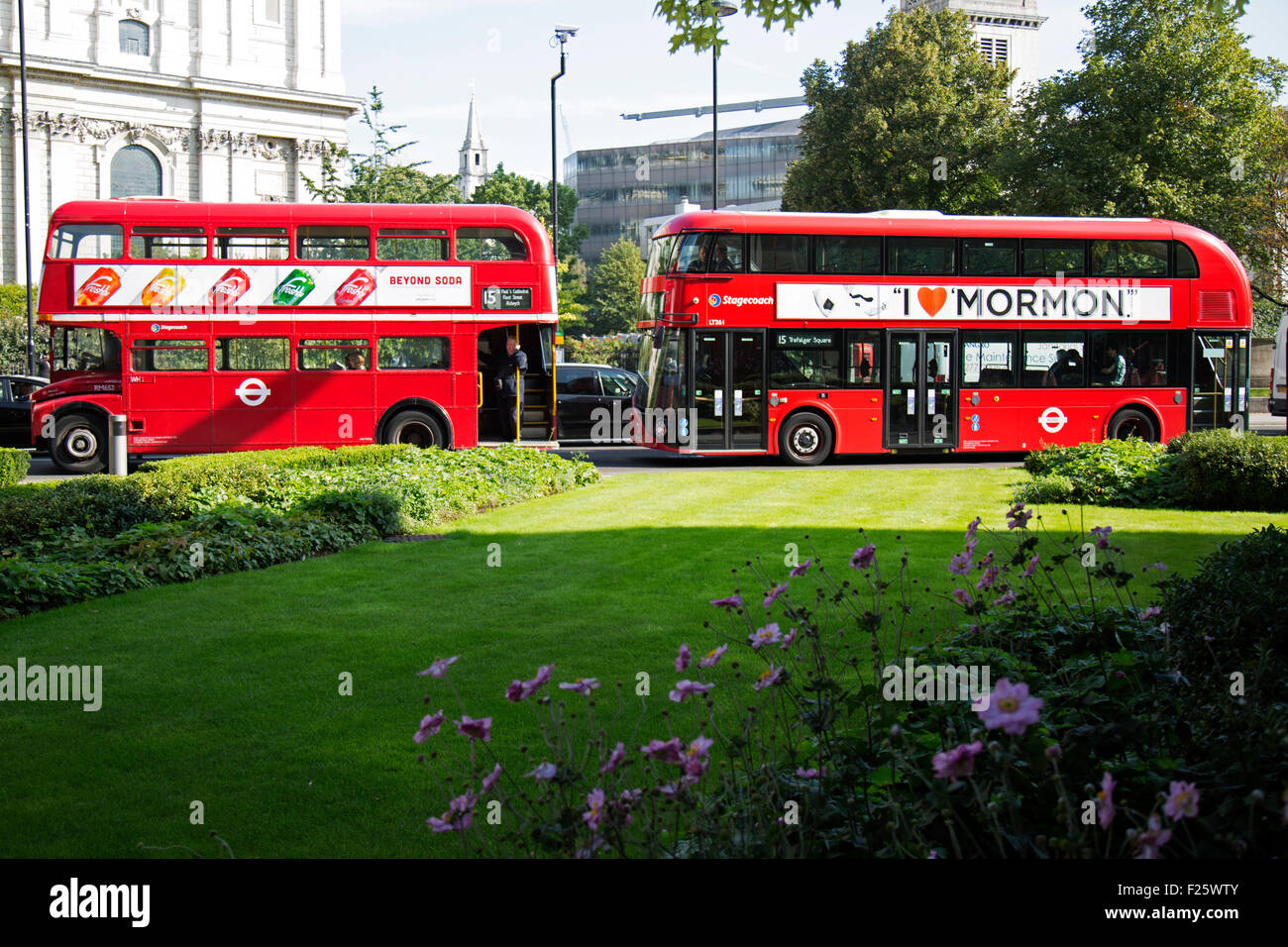 New and Old 'Routemaster' buses in London. - Stock Image