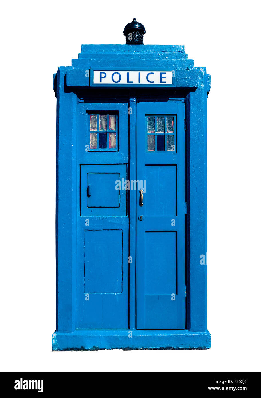 Isolation Of A Traditional Blue British Police Box - Stock Image