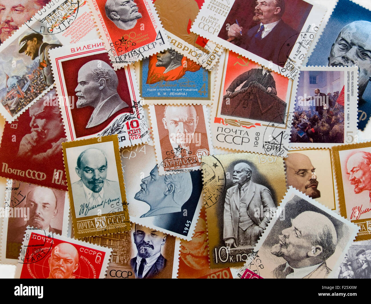 Many USSR postage stamps with Lenin. Perfect condition. - Stock Image