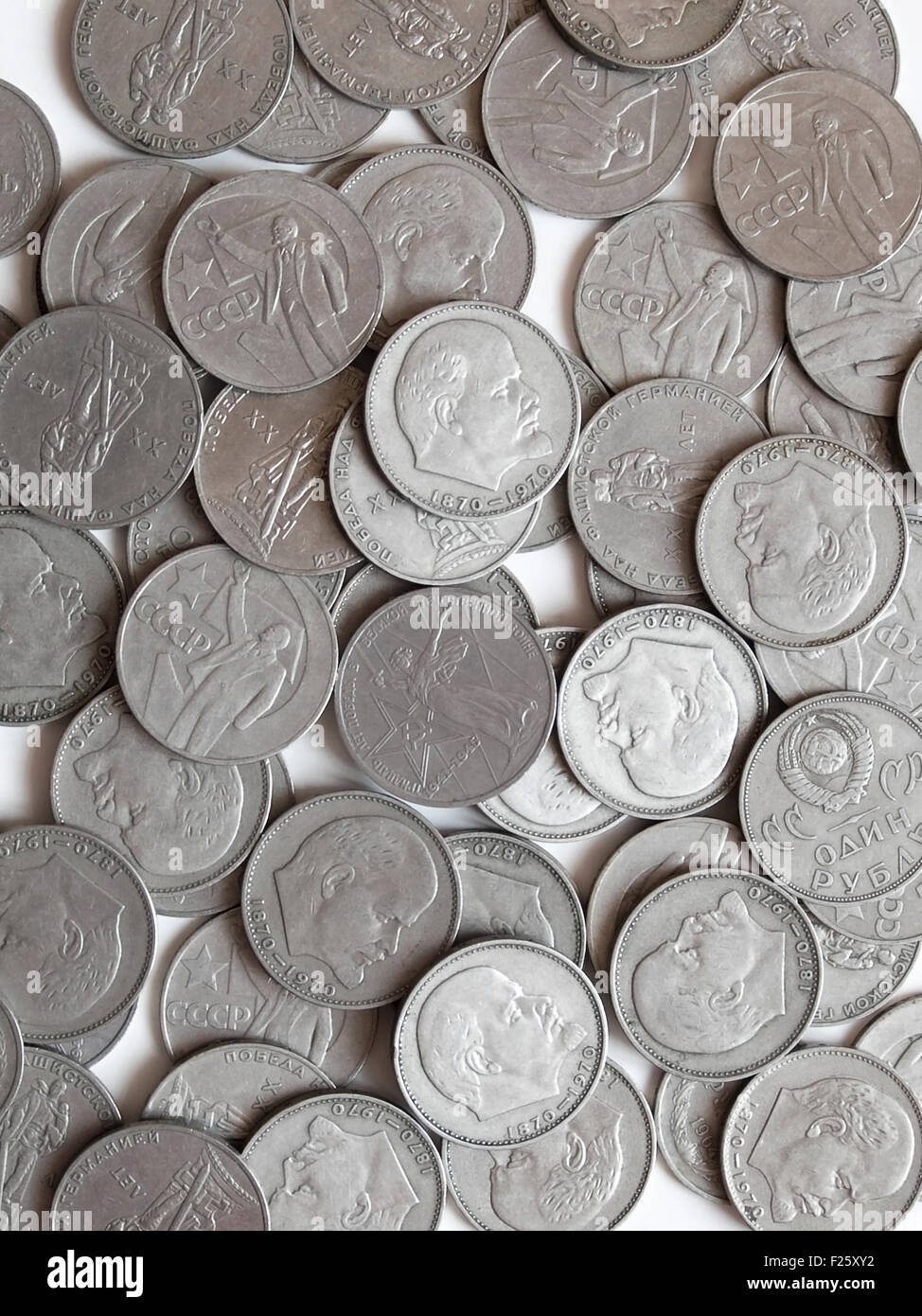 Many USSR metal roubles with Lenin and other designs Stock Photo