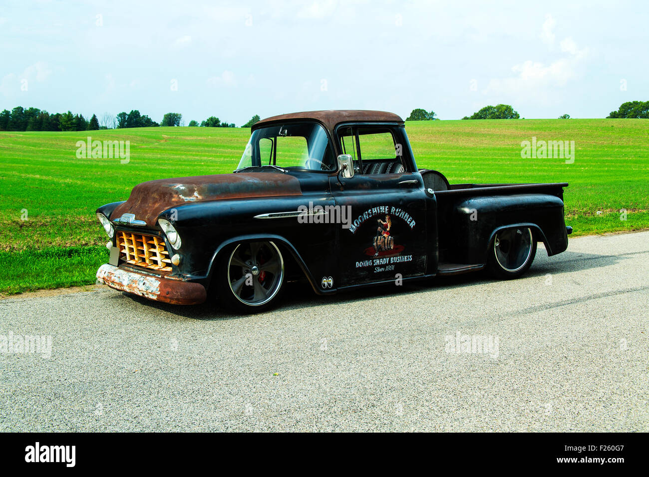 Custom Pickup Truck Stock Photos Images 1957 Chevy Rat Rod 1956 Chevrolet Image