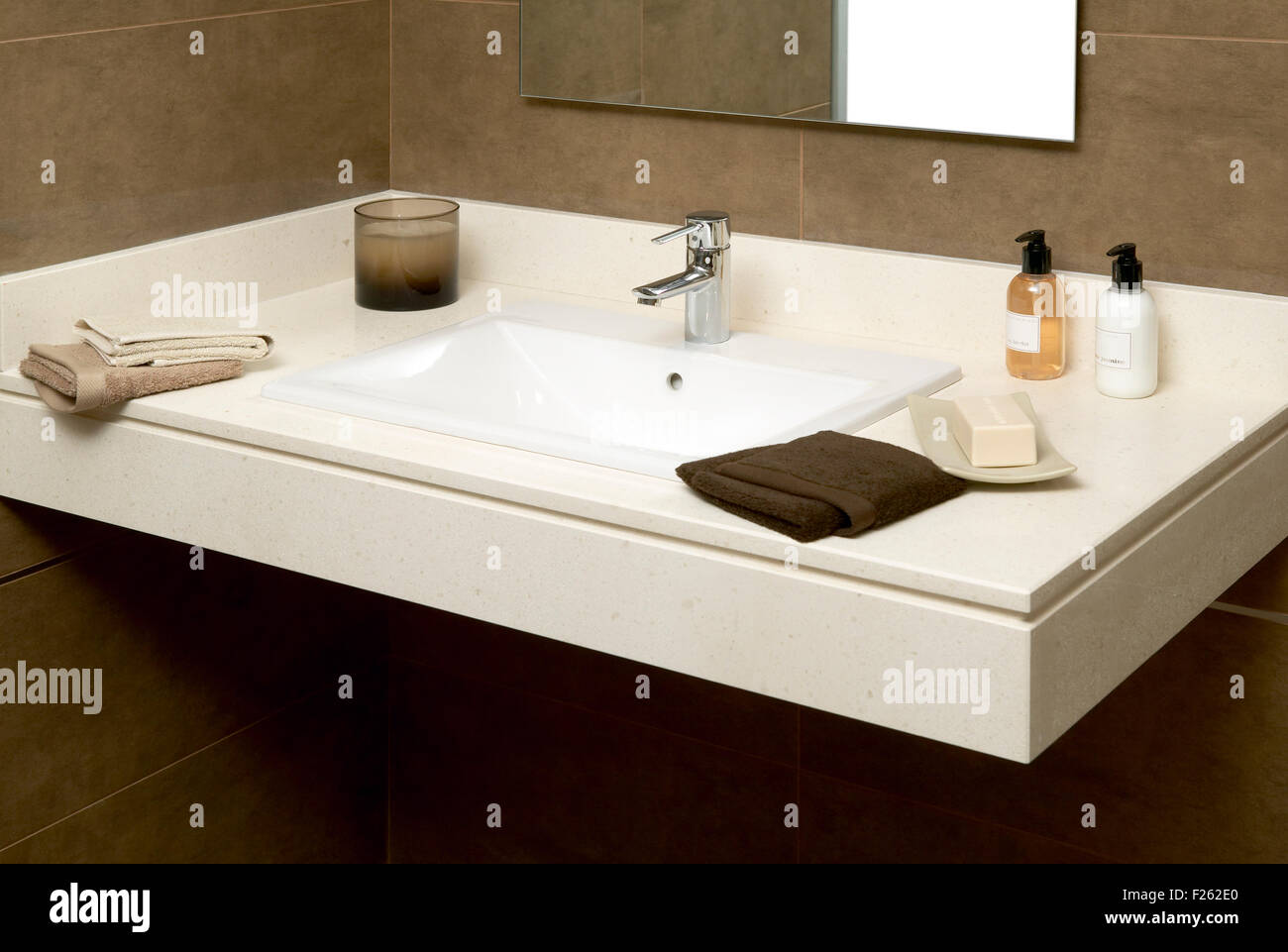Basin With Soap And Towels In A Bathroom   Stock Image