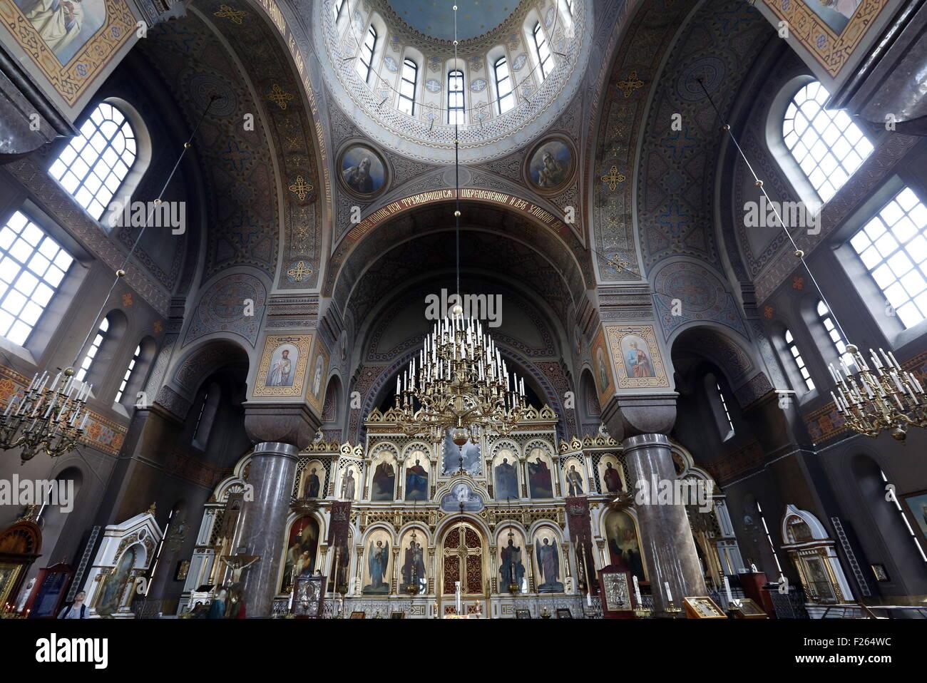 Helsinki, Finland. 1st Aug, 2015. Inside the Uspenski [Dormition] Cathedral. © Valery Matytsin/TASS/Alamy Live - Stock Image