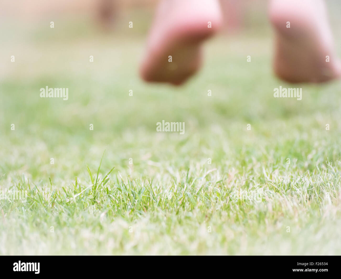 jump on the grass for happiness. Blur image  with feet of kid that jump on the grass. Concept of happiness - Stock Image