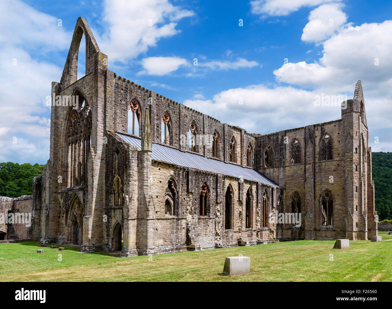 The ruins of Tintern Abbey, near Chepstow, Wye Valley, Monmouthshire, Wales, UK - Stock Image