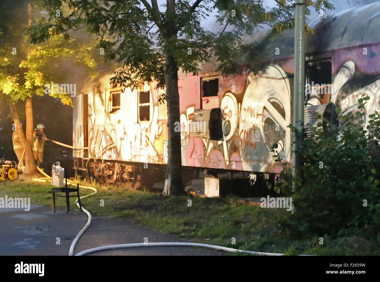 wiehl germany 12th sep 2015 the fire services put out a fire on